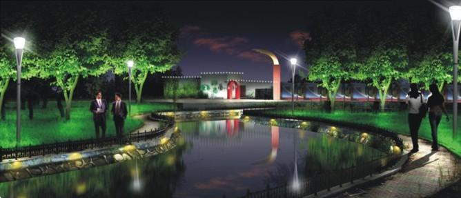 设计说明:高雅的庭院灯提供了充足的照明功能,同时也达到夜间景观效果